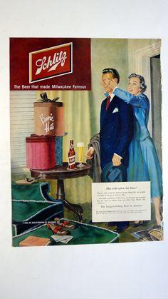 1950 LIFE Magazine Schlitz Beer Ad - vintage magazine ad framable