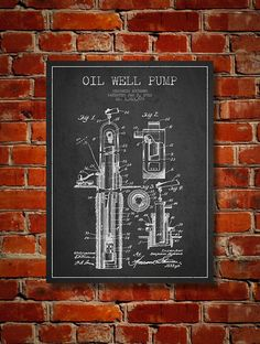 1912 Oil Well Pump Patent Art Decor Drawing. Available as poster or canvas in various colors. #decor #inventions #patents #engineering