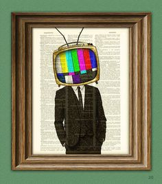 The TELEVISION HEAD TV Man in a suit illustration beautifully upcycled dictionary page book art prin head The TELEVISION HEAD TV Man in a suit illustration beautifully upcycled dictionary page book art print Simple Tattoo With Meaning, Internet Television, Object Heads, Tv Head, Art Folder, First Tattoo, Illustration, Book Art, Art Prints