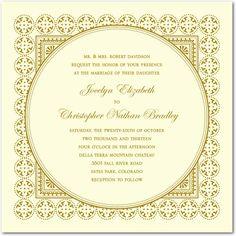 Medallion Border - Thermography Wedding Invitations - Jenny Romanski - TH Gold - Neutral : Front