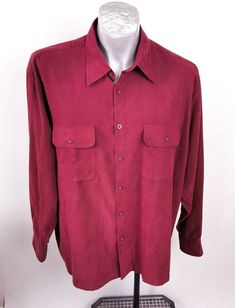 Tilley Endurable Burgundy Size L Shirt Long Sleeve Travel Comfort ⚡ #TilleyEndurables Travel Shirts, Long Sleeve Shirts, Burgundy, Shirt Dress, Sleeves, Mens Tops, Cotton, Stains, Flat