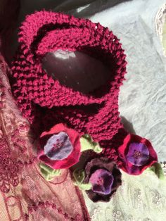 Hand-knit & Felt Floral Embellished Raspberry Scarf-style Necklace by GabrielleEloise on Etsy Skinny Scarves, Scarf Styles, Fashion Necklace, Hand Knitting, Raspberry, Crochet Necklace, Felt, Floral, Handmade