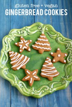 A gluten free and vegan recipe for delicious iced gingerbread cut out cookies.