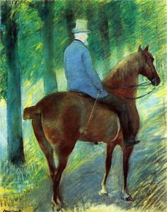 "Robert S. Cassatt on Horseback"" -- 1885 -- Mary Cassatt -- American -- Private Collection. Edgar Degas, Camille Pissarro, Claude Monet, Mary Cassatt Art, Illustrations, Illustration Art, Statues, American Impressionism, Berthe Morisot"