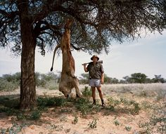 Untitled professional hunter with trophy lion, Kalahari, Northern Cape, South Africa, by David Chancellor.