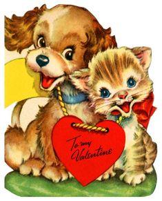 Puppy and Kitten Vintage Valentine