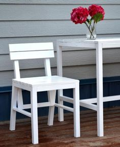 Idea for patio chairs: Add more slats to back, frame seat to match table.