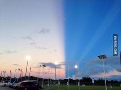 It looked like the sky was split in half here on Guam!