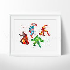 Avengers Superhero Nursery Art Print Wall Decor. Affordable handmade nursery art prints that compliment any style nursery project you have in mind.