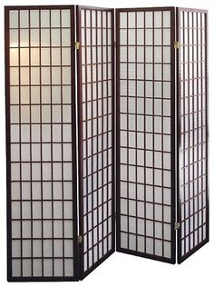 Coaster Oriental Style 4-Panel Room Screen Divider, Black Framed