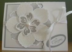 Stampin Up Wedding Card, Build a Blossom, Love, Flower Card, White and Silver