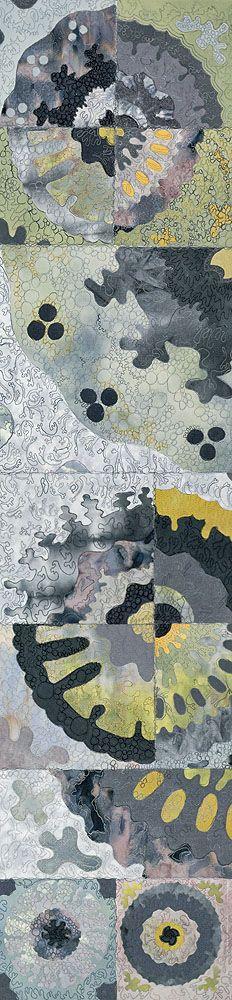 "Liz Brooke Ward ~ (Lichen series) 'Nephroma' & 'Parmelia III' – ""the stitching on 'Nephroma' is taken from the shape of the lichen nephroma laevigatum. 'Parmelia III' has stitching based on the lobe like shapes of parmelia plumbea."" ~ LBW (Cotton, applique, machine stitch)"