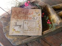 Early Looking Primitive Schoolgirl Inspired Sampler from Notforgotten Farm ~ for auction on ebay only, no pattern used