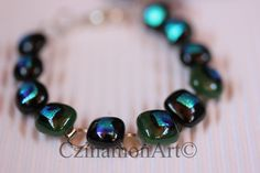 Black and Dark Green Dichroic Fused Glass Bracelet by CzinamonArt, Glass Jewelry, Unique Jewelry, Fused Glass, Beaded Bracelets, Trending Outfits, Dark, Handmade Gifts, Green, Etsy