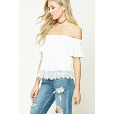 Forever21 Off-the-Shoulder Lace Crop Top ($16) ❤ liked on Polyvore featuring tops, cream, lace top, crop top, short sleeve crop top, off shoulder tops and off the shoulder crop top