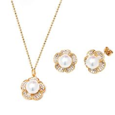Peermont Pearl And Crystal Elements Flower Earrings And Pendant... ($46) ❤ liked on Polyvore featuring jewelry, gold, flower jewelry, long pendant necklace, long necklace pendant, pearl jewelry and crystal necklace pendant