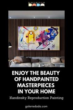 Decorate your walls with stunning hand painted reproductions of famous Kandinsky masterpieces recreated by talented, experienced artists. Vibrant colors, textured paint on canvas - prints look flat and dull in comparison. Available in different sizes.