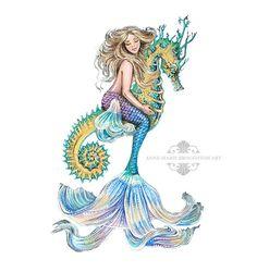 8x10 inch PRINT Rhiannon Mermaid Riding Seahorse White
