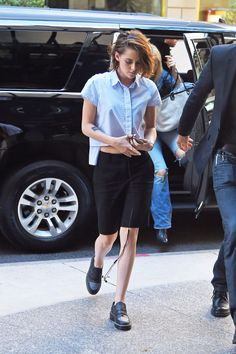 Kristen Stewart looking well-tailored in tomboy classics including some amazing Chanel oxfords.