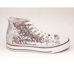 Sequin Starlight Tiny Sequin Silver Converse Canvas Hi Top Sneaker... (3.255 CZK) ❤ liked on Polyvore featuring shoes, sneakers, hi tops, silver, sneakers & athletic shoes, women's shoes, high top tennis shoes, canvas shoes, canvas high tops and sequined sneakers