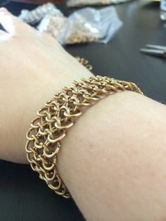"Brass chainmaille bracelet. European 4-in-1, 18ga 3/16"" rings from TheRingLord. Took about 2 hours to make."