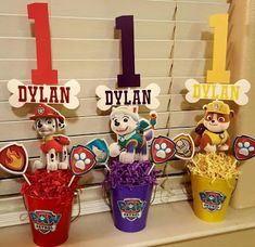If you like PAW Patrol or the canine patrol, you're in luck today we bring you several decorating ideas for PAW Patrol's birthday or the c. Paw Patrol Party Favors, Paw Patrol Party Decorations, Paw Patrol Birthday Theme, Paw Patrol Centerpieces, Third Birthday, 3rd Birthday Parties, Birthday Table, Cumple Paw Patrol, Picture Centerpieces