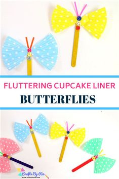 Fluttering butterfly craft from cupcake liner, popsicle sticks and buttons. Easy and fun craft idea for toddlers, preschool and elementary school kids. Perfect craft idea for summer and spring. Summer Crafts For Toddlers, Cute Kids Crafts, Crafts For Kids To Make, Crafts For Teens, Toddler Crafts, Preschool Crafts, Simple Crafts, Daycare Crafts, Popsicle Stick Crafts