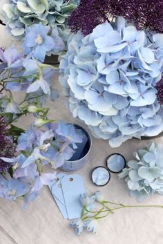A Bunch for the Weekend-# 84-Blue Hydrangea and Delphiniums with Purple…