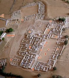 This map depicts the Malia Minoan Palace on Crete, a lesser palace than the one at Knossos, but similar in nature in that its maze-like layout is almost identical. It is also, similar to the Knossos palace, centered around a center courtyard, which may have been utilized for sport.
