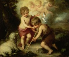Bartolome Esteban Murillo Infant Christ Offering a Drink of Water to St John, , Museo del Prado, Madrid. Read more about the symbolism and interpretation of Infant Christ Offering a Drink of Water to St John by Bartolome Esteban Murillo. Religious Paintings, Religious Art, Esteban Murillo, Jean Baptiste, John The Baptist, Catholic Art, Catholic Online, Oil Painting Reproductions, Christian Art