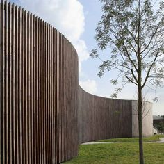 Fence at Instituut Verbeeten, Breda (NL) Curved Wood, Curved Walls, Landscape Architecture, Landscape Design, Architecture Design, Fence Design, Garden Design, Watercolor Wallpaper Iphone, Fence Screening