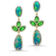 Anne Sisteron  18KT Yellow Gold Opal Tsavorite Diamond Tropical Earrings featuring polyvore, women's fashion, jewelry, earrings, gold, tsavorite jewelry, opal earrings, diamond jewelry, diamond earrings and yellow gold opal earrings