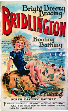 Vintage Bridlington poster - British made workwear by waysideflower.co.uk