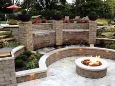 Backyard patio ideas with fire pit backyard patio water application lighting back backyard design ideas with fire pit Sloped Backyard, Backyard Water Feature, Backyard Patio Designs, Fire Pit Backyard, Backyard Landscaping, Landscaping Ideas, Backyard Seating, Patio Ideas, Backyard Ideas