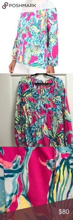 Lilly Pulitzer Willa Tunic Top Beautiful Top in great condition- only worn once. Great style, colors and Lilly print😀 🛑NO TRADES🛑 Lilly Pulitzer Tops Blouses