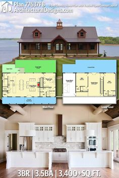 Architectural Designs House Plan 77637FB has porch in front and deck in back each spanning the entire width of the home | 3BR | 3.5BA | 3,400+SQ.FT. Ready when you are. Where do YOU want to build? #77637FB #adhouseplans #architecturaldesigns #houseplan #architecture #newhome #newconstruction #newhouse #homedesign #dreamhome #dreamhouse #homeplan #architecture #architect #slopinglot #cottage