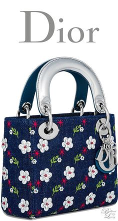 Brilliant Luxury * Dior Summer 2016 ~ Mini blue denim Lady Dior bag Cannage design embroidered with metallic flowers - bags, sling, ysl, fabric, kate spade, cosmetic bag *ad