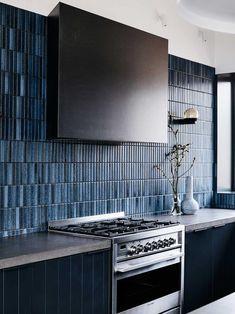 Home Interior Modern .Home Interior Modern Kitchen Backsplash, Splashback Tiles, Blue Kitchen Tiles, Blue Tiles, Concrete Kitchen, Buy Kitchen, Kitchen Tools, Home Interior, Home Decor Accessories