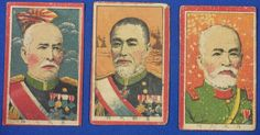 1900's Japanese Military & Historical Persons : Japanese Menko Cards General / Kuroki Tamemoto / Admiral Togo Heihachiro / General Nogi Maresuke - Japan War Art / vintage antique old Japanese military war art card  / Japanese history historic paper material Japan