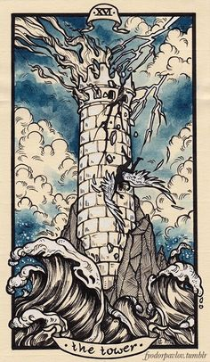 The Tower Tarot card: I love the watercolor quality of this tarot card, and I think drawing my own design and digitally coloring it in would be interesting.