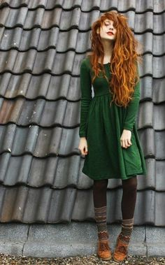 Vibrant red hair with green forest dress - wonderful! The shoes and socks are a cute addition, too.