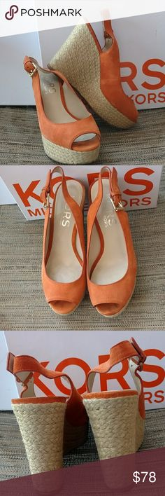 Michael Kors Size 7 Wedged Heels Michael Kors Keelyn tangerine color suede wedge heels size 7. They are in great pre loved condition worn a handful of times with minimal normal wear. I purchased at Macy's for $140.00. great color!! Box included. Michael Kors Shoes