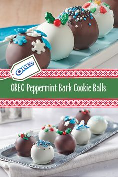 OREO Peppermint Bark Cookie Balls - Looking for some bite-size holiday treats? Look no further than these easy OREO Peppermint Bark Coo - New Year's Desserts, Holiday Baking, Christmas Desserts, Christmas Recipes, Holiday Recipes, Christmas Snacks, Christmas Cooking, Christmas Goodies, Christmas Appetizers