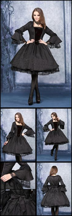Dark In Love Victorian Gothic Dress - This beautiful black gothic dress has a bodice of soft black and red shot velvet which initially appears black but has a red tint from certain angles. The dress is made from a lovely black patterned brocade style fabric and has black lace trim around the neckline, flared sleeve cuffs and hem and a brocade tie at the waist. A shorter length, this great goth dress would suit the gothic lolita style or the traditional Victorian look. From ANGEL CLOTHING
