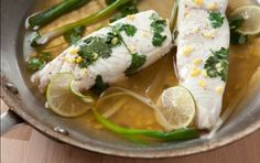 Poached Halibut with Ginger and Cilantro