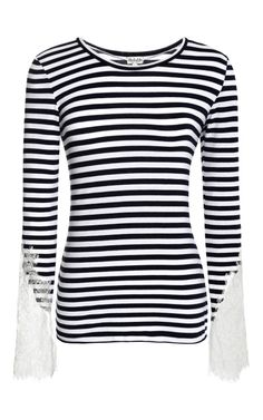 Striped Top With Lace Sleeves by Natasha Zinko for Preorder on Moda Operandi