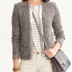 Banana Republic Grey glitter warm jacket size XS Gently used very warm and comfy BR size XS grey jacket Banana Republic Jackets & Coats