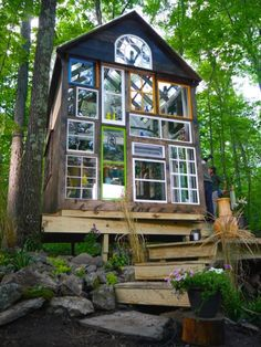 """Salvage-style master Derek """"Deek"""" Diedricksen's funky 140-sq. ft off-grid cabin made of recycled glass, windows, reclaimed wood and other odds and ends. Get the scoop and more pics here."""