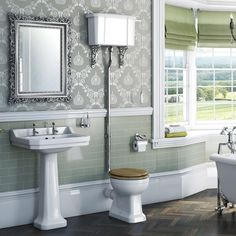 Kind of loo I'd like for downstairs loo. Camberley High Level Toilet inc Luxury Soft Close Walnut Effect Seat - Victoria Plumb Quirky Bathroom, Small Bathroom, Edwardian Bathroom, Bathroom Plans, Bathroom Ideas, Cloakroom Ideas, Dado Rail, Downstairs Toilet, European Home Decor