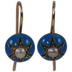 Victorian Enamel Diamond Gold Earrings